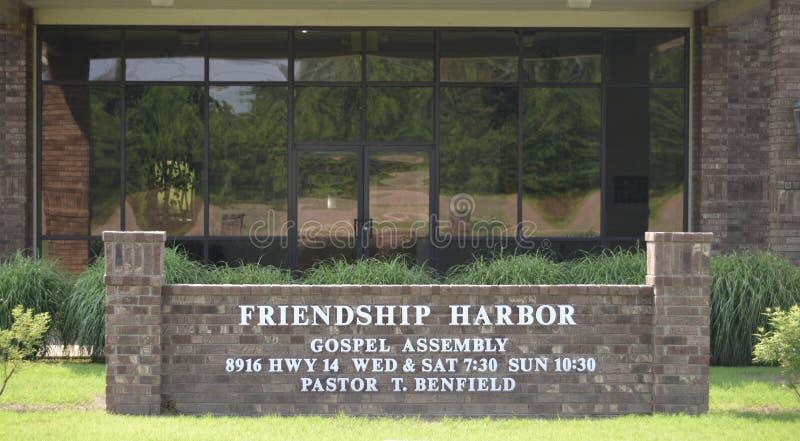 Sinal da igreja do porto da amizade, Millignton, TN imagem de stock