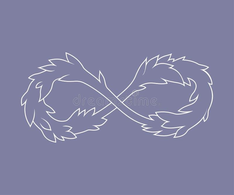 Sinal da infinidade com folhas ilustração do vetor