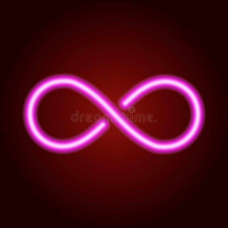 Sinal da infinidade da linha de néon cor-de-rosa de incandescência Ilustração do vetor ilustração stock