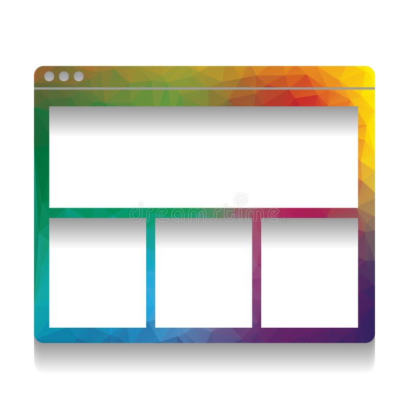 Sinal da janela da Web Vetor Ícone colorido com textura brilhante do mo ilustração royalty free