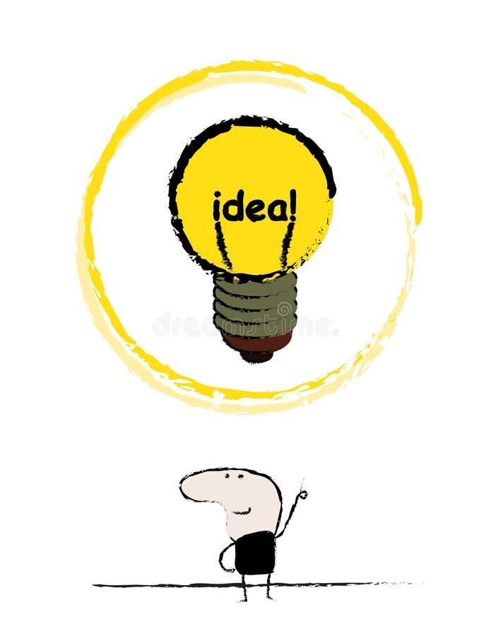 Sinal da lâmpada da ideia do homem da garatuja ilustração royalty free