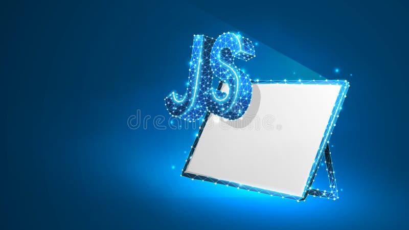 Sinal da língua de codificação de Java Script na tela branca da tabuleta Dispositivo, programando, conceito tornando-se Sumário,  ilustração stock