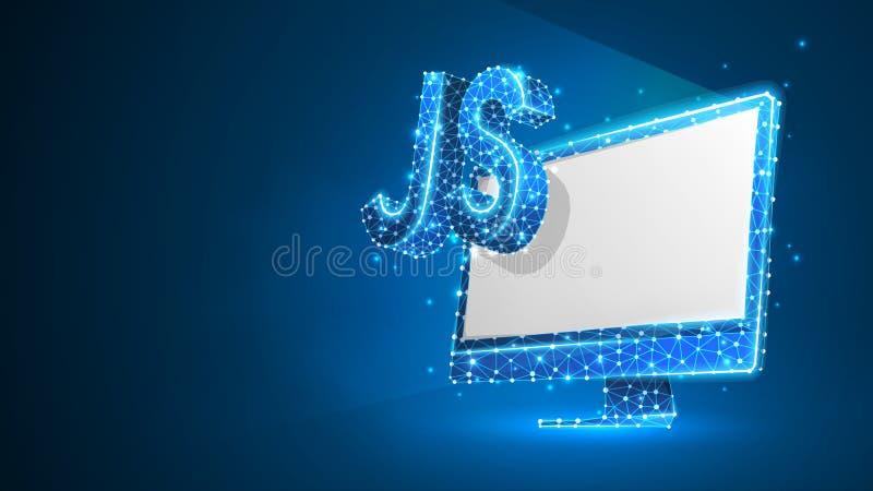 Sinal da língua de codificação de Java Script no monitor branco do computador Dispositivo, programando, conceito tornando-se Sum? ilustração do vetor