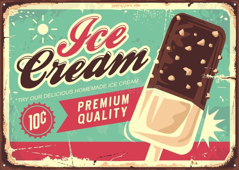 Sinal da lata do vintage do gelado ilustração stock