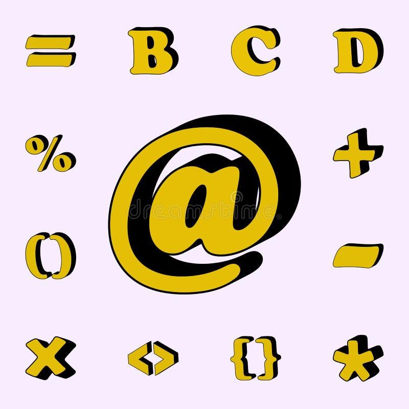 sinal da libra, ícone 3D grupo universal dos ícones das palavras 3D para a Web e o móbil ilustração stock