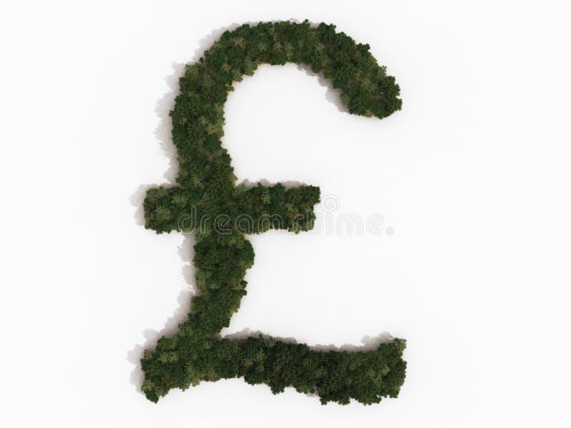 Sinal da libra feito das árvores ilustração royalty free