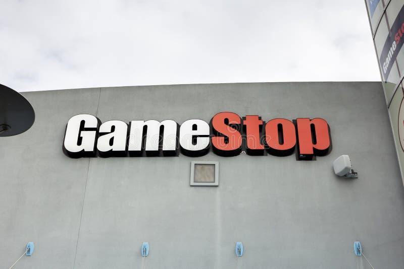 Sinal da loja de GameStop imagem de stock royalty free