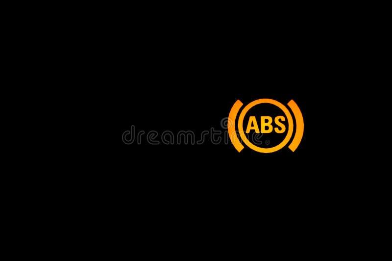 Sinal da luz de advertência do ABS, indicador claro do carro, indicador interno do ABS alaranjado foto de stock