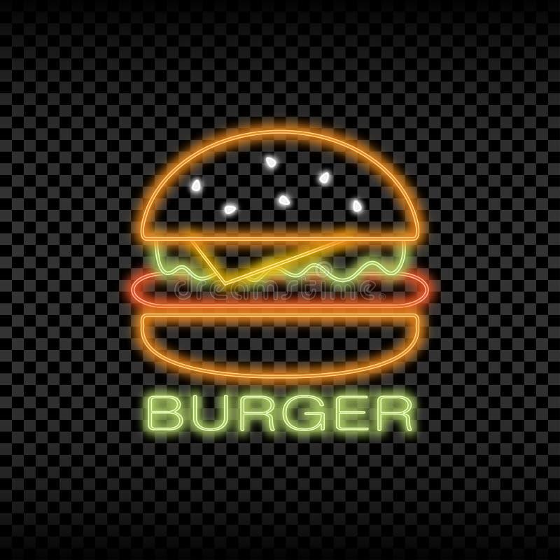 Sinal da luz de néon do café do hamburguer Quadro indicador brilhante de incandescência e de brilho do logotipo do fast food Veto ilustração do vetor