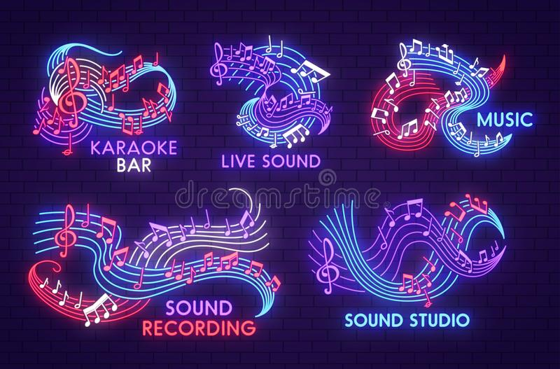 Sinal da luz de néon da música com brilho da nota musical ilustração do vetor