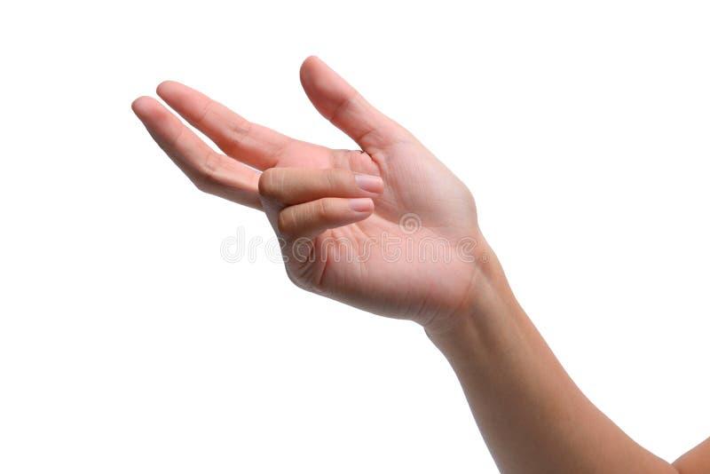 Sinal da mão da mulher isolado no branco imagem de stock