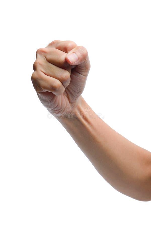 Sinal da mão da mulher isolado no fundo branco fotos de stock royalty free