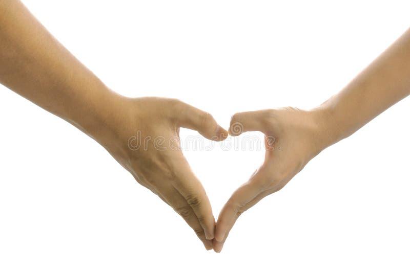 Sinal da mão do coração fotografia de stock