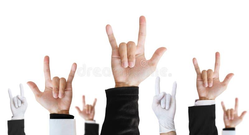 Sinal da mão do metal pesado da carreira da diferença que aumenta para cima, isolado no fundo branco fotos de stock