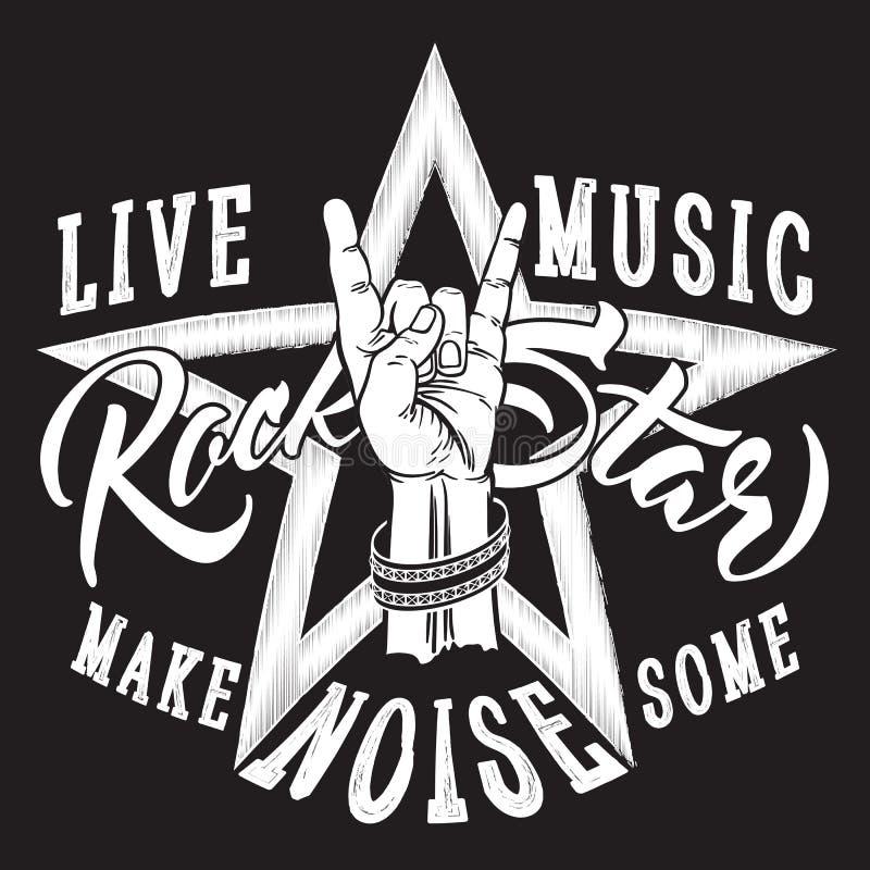 Sinal da mão do rock and roll com inscrição da estrela do rock ilustração stock