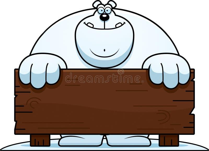 Sinal da madeira do urso polar dos desenhos animados ilustração do vetor