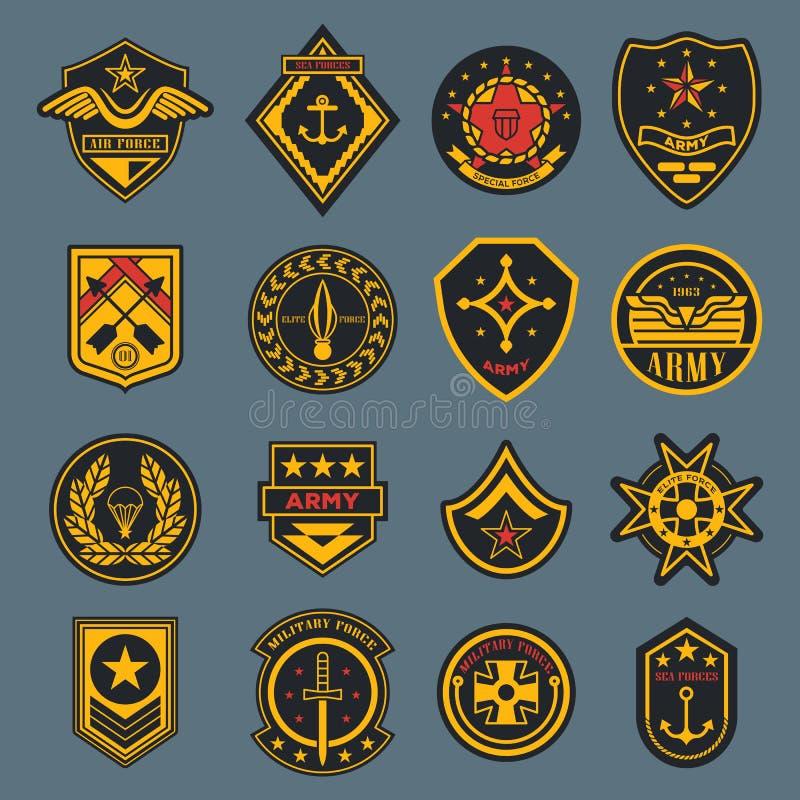 Sinal da marinha e crachá do exército, etiqueta americana da força aérea ilustração royalty free