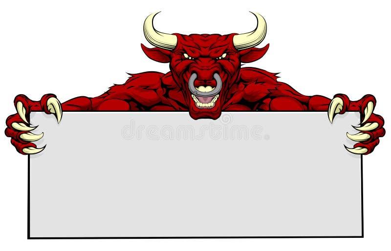 Sinal da mascote dos esportes de Bull ilustração royalty free