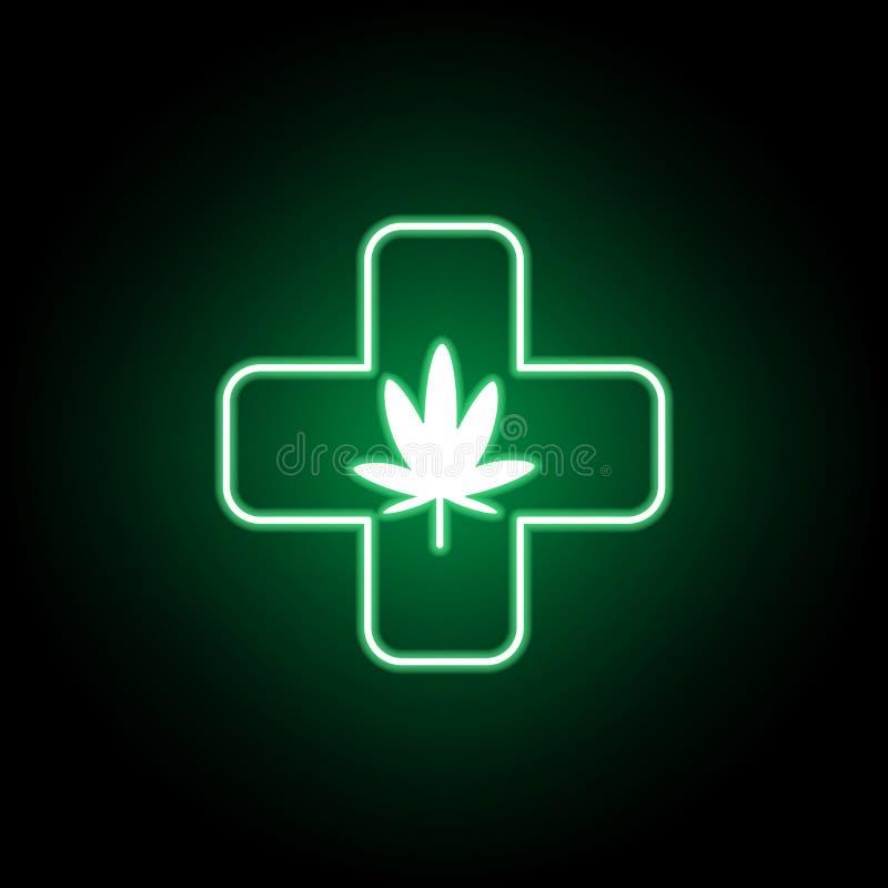 Sinal da medicina, ícone do esboço da marijuana no estilo de néon Pode ser usado para a Web, logotipo, app m?vel, UI, UX ilustração royalty free