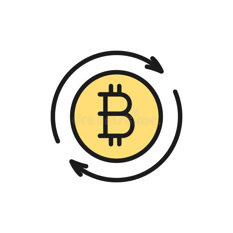 Sinal da moeda de Bitcoin, ícone liso da cor da troca do cryptocurrency ilustração do vetor