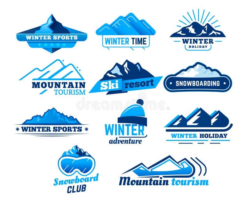Sinal da montanha da neve Molde do projeto do vetor do logotipo da paisagem do inverno, do símbolo das montanhas, do esqui ou do  ilustração royalty free