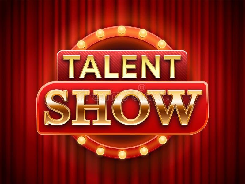 Sinal da mostra do talento A bandeira talentoso da fase, neva cortinas da cena e ilustração vermelhas do vetor do cartaz do convi ilustração royalty free