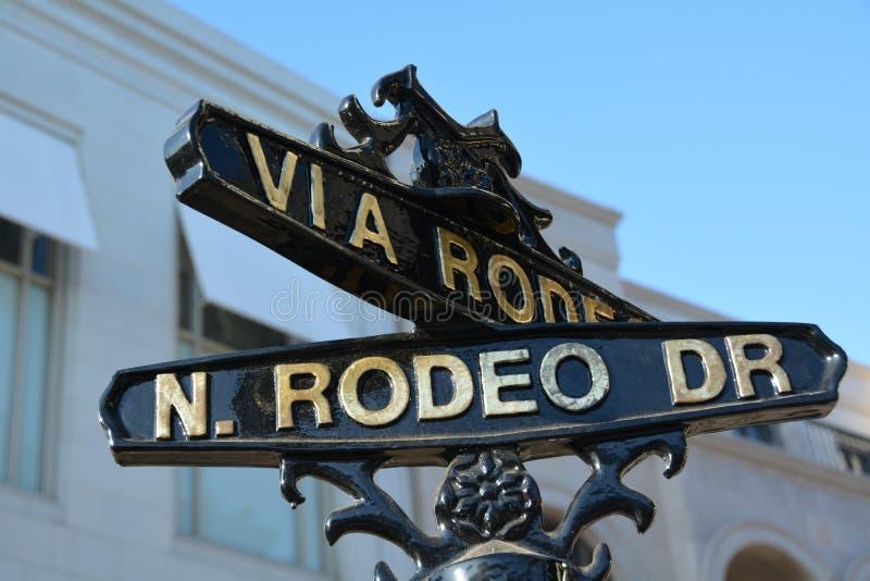 Sinal da movimentação do rodeio, Los Angeles, Califórnia, Estados Unidos foto de stock royalty free