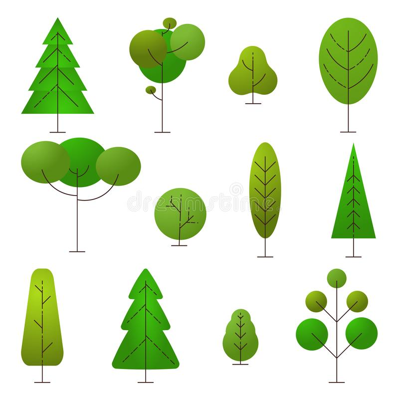 Sinal da natureza e da ecologia Ajuste das árvores diferentes dos desenhos animados em um fundo branco Elementos da natureza do v ilustração stock