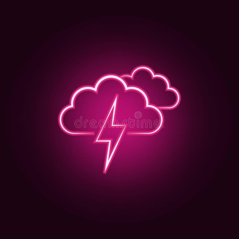 sinal da nuvem com ícone da trovão-tempestade Elementos do tempo nos ícones de néon do estilo Ícone simples para Web site, design ilustração stock