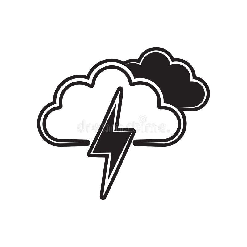 sinal da nuvem com ?cone da trov?o-tempestade Elemento do tempo para o conceito e o ?cone m?veis dos apps da Web Esbo?o, linha fi ilustração royalty free