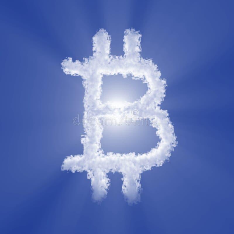 Sinal da nuvem de Bitcoin com luz do volume no céu azul e no sol ilustra??o 3D ilustração royalty free