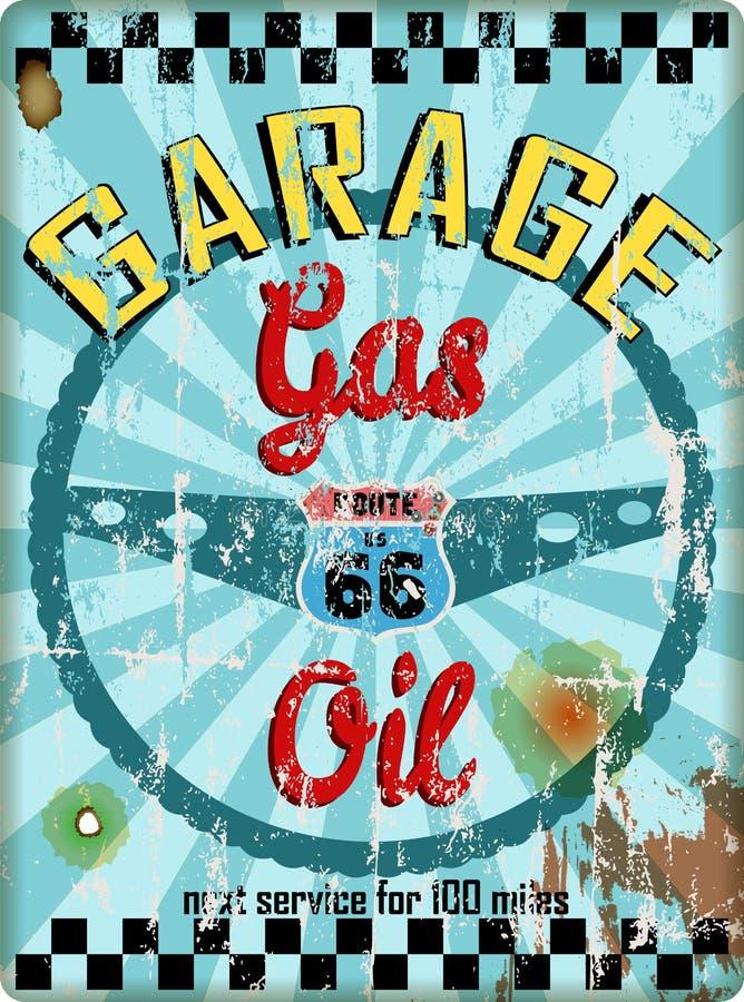 Sinal da oficina da garagem da rota 66 do vintage, ilustração do vetor