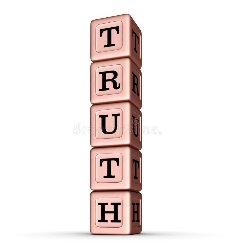 Sinal da palavra da verdade Pilha vertical de Rose Gold Metallic Toy Blocks ilustração royalty free