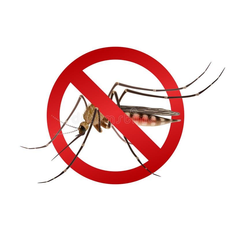 Sinal da parada do mosquito ilustração stock