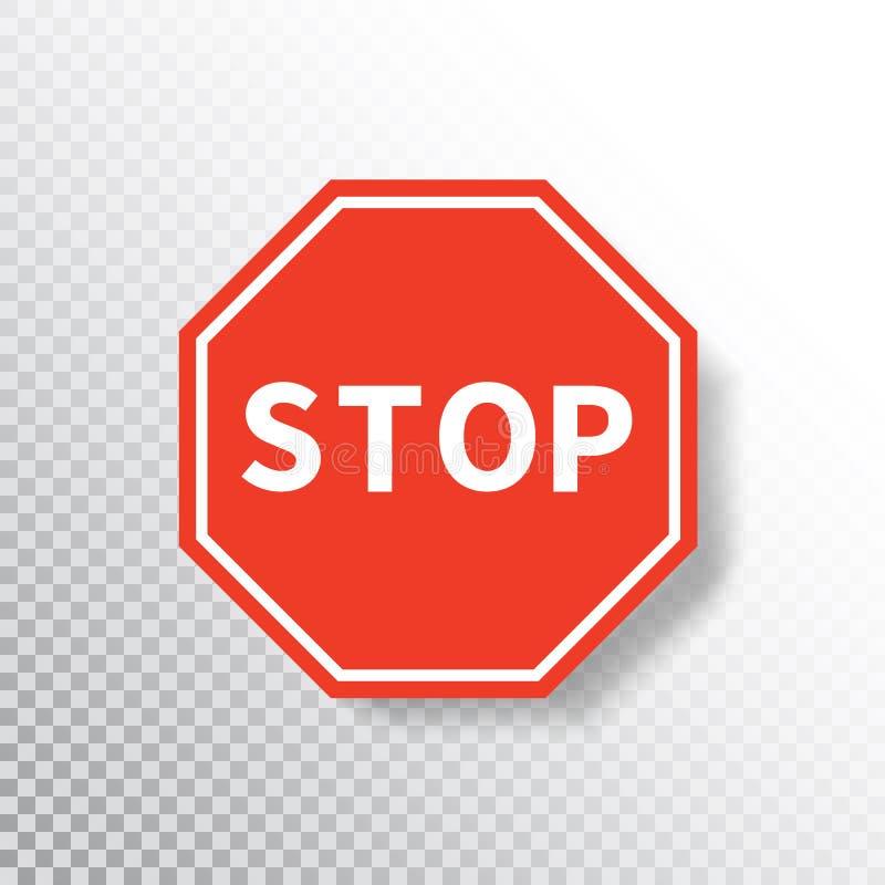 Sinal da parada isolado no fundo transparente Sinal de estrada vermelho S?mbolo regulador da parada do aviso do tr?fego Notifique ilustração do vetor