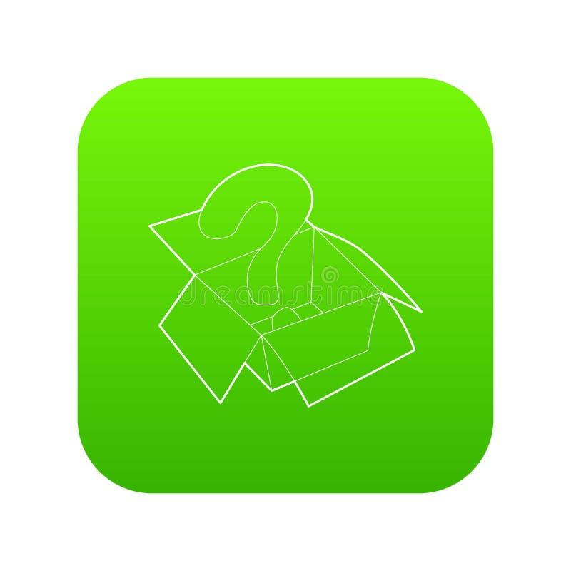 Sinal da pergunta dentro do vetor aberto do verde do ícone da caixa ilustração royalty free