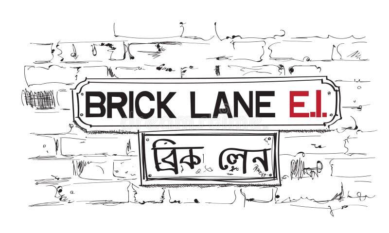 Sinal da pista do tijolo ilustração da vizinhança de Londres ilustração do vetor