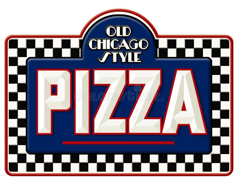 Sinal da pizza de Chicago ilustração royalty free