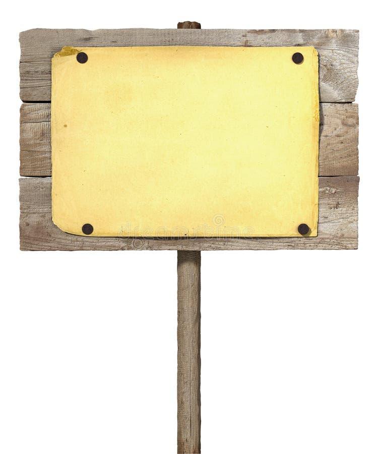 Sinal da placa de madeira ilustração royalty free