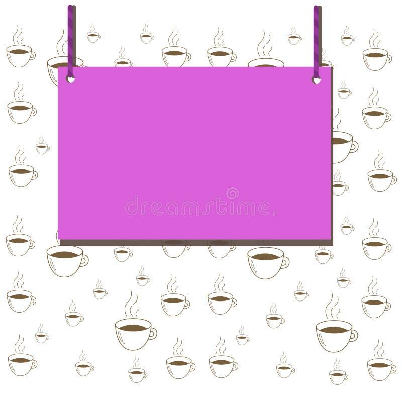Sinal da placa de madeira, quadro vazio da forma do retângulo fixado na superfície colorida por duas cordas listradas nas duas ex ilustração royalty free