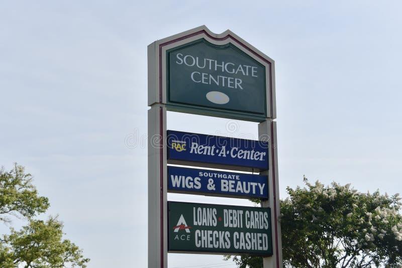 Sinal da plaza de compra do centro de Southgate, Memphis, TN foto de stock
