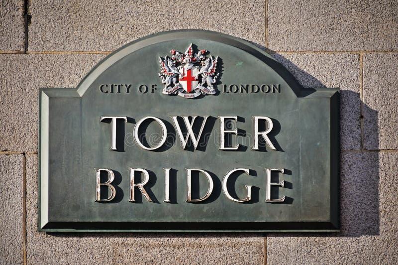 Sinal da ponte da torre fotos de stock