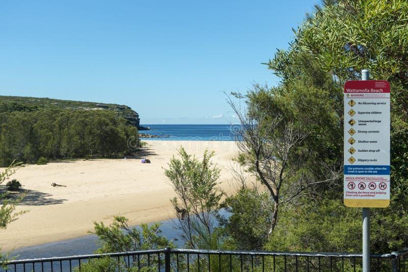 Sinal da praia de Wattamolla imagens de stock