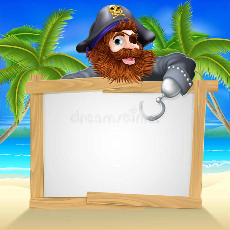 Sinal da praia do pirata dos desenhos animados ilustração do vetor