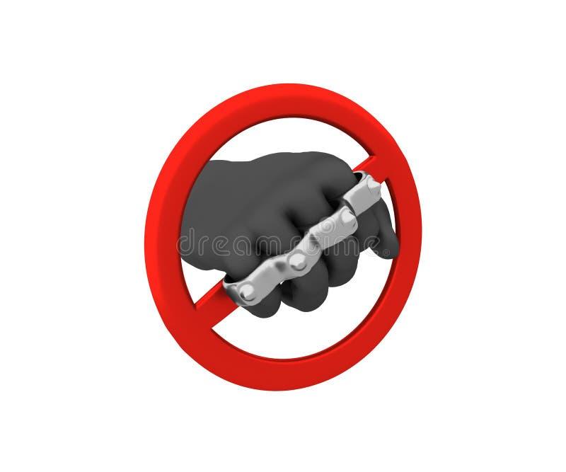Sinal da proibição - as juntas de bronze 3d rendem ilustração do vetor