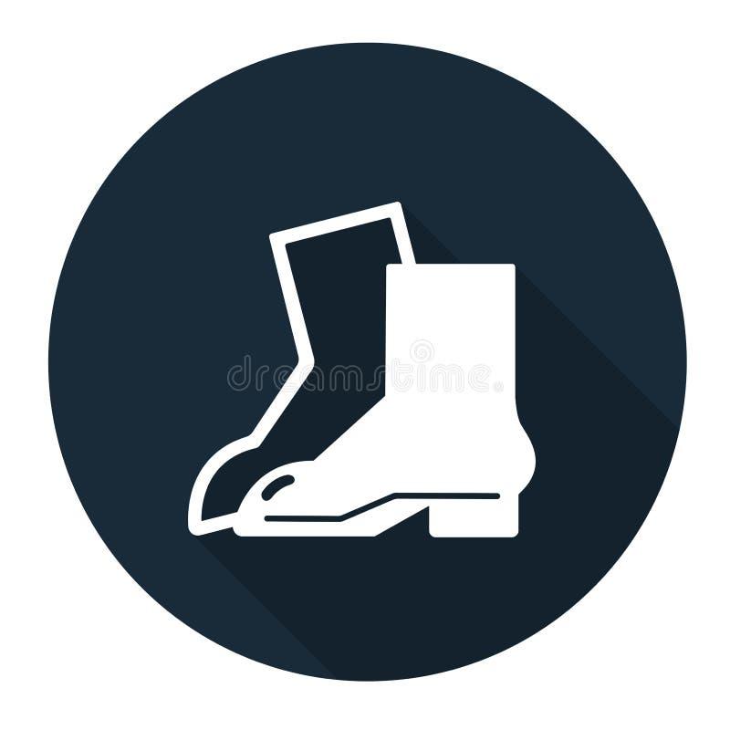 Sinal da proteção do pé do desgaste do símbolo no fundo preto, llustration do vetor ilustração stock