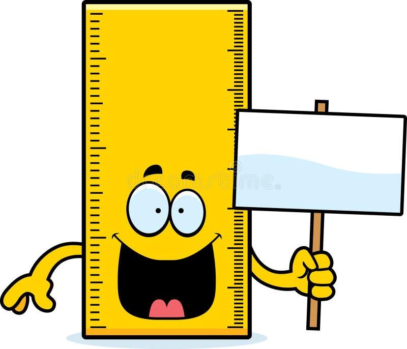Sinal da régua dos desenhos animados ilustração do vetor