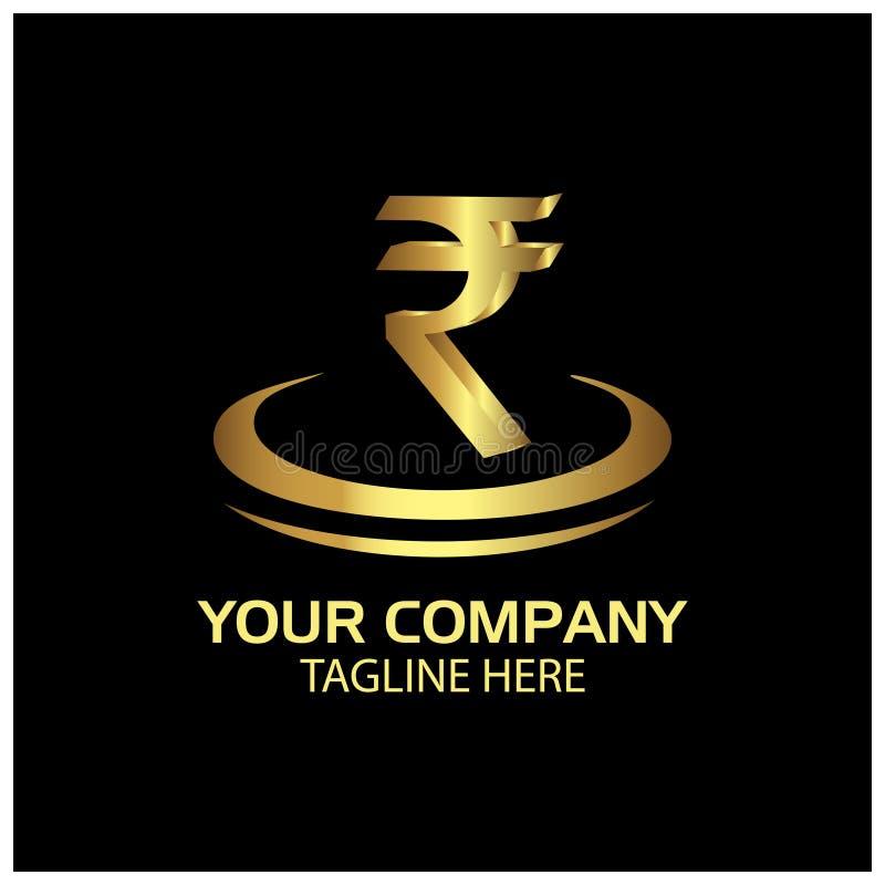 Sinal da rupia no círculo, finança Logo Vetora Logotipo do ouro ilustração stock