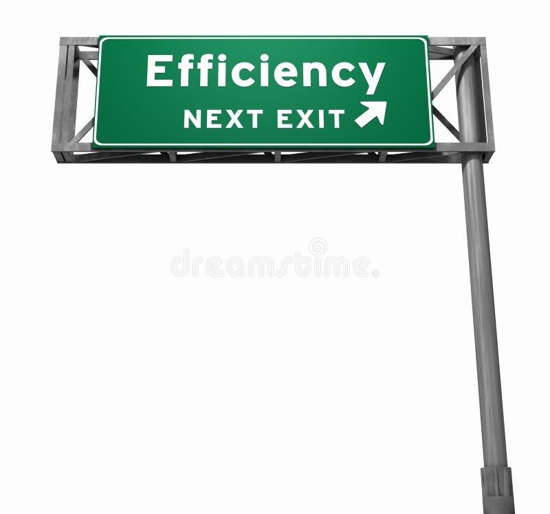 Sinal da saída de autoestrada da eficiência ilustração stock