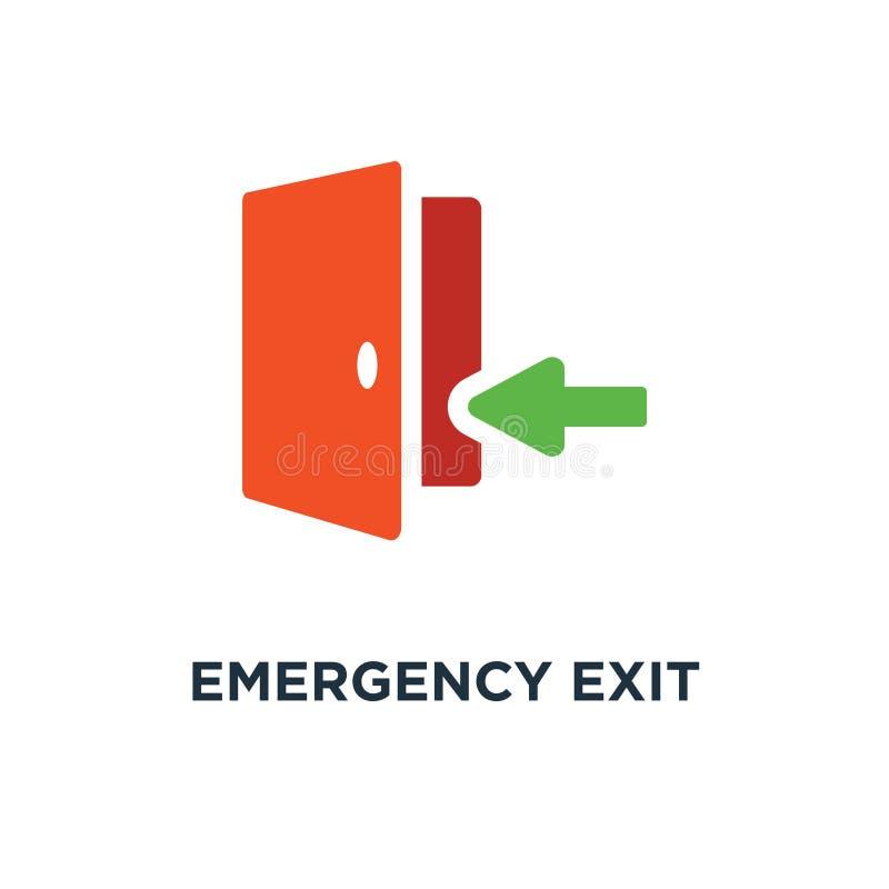 sinal da saída de emergência, porta de saída, ícone da estratégia de saída entranc da porta ilustração do vetor